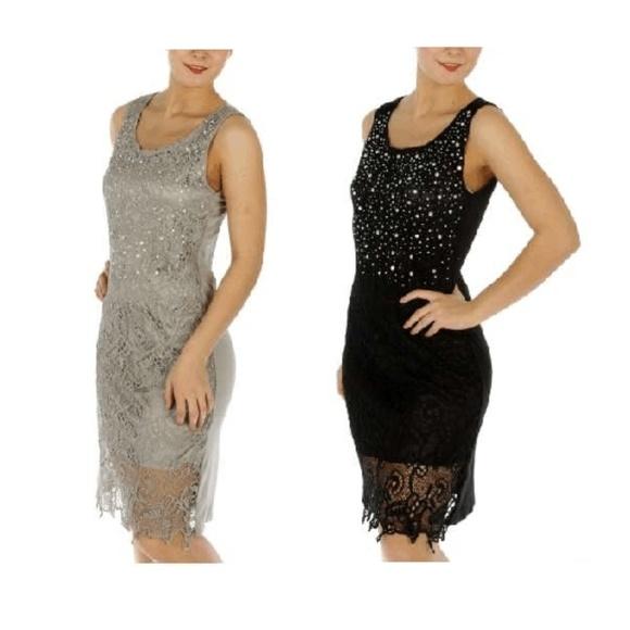 Rhinestone Lace Dress